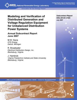 Primary view of object titled 'Modeling and Verification of Distributed Generation and Voltage Regulation Equipment for Unbalanced Distribution Power Systems; Annual Subcontract Report, June 2007'.