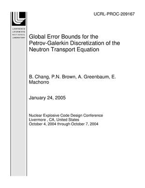Primary view of object titled 'Global Error Bounds for the Petrov-Galerkin Discretization of the Neutron Transport Equation'.