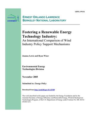 Primary view of object titled 'Fostering a Renewable Energy Technology Industry: An InternationalComparison of Wind Industry Policy Support Mechanisms'.