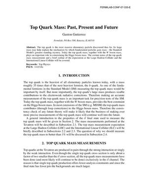 Primary view of object titled 'Top quark mass: past, present and future'.