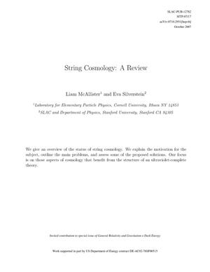 Primary view of object titled 'String Cosmology: A Review'.