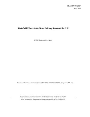 Primary view of object titled 'Wakefield Effects in the Beam Delivery System of the ILC'.
