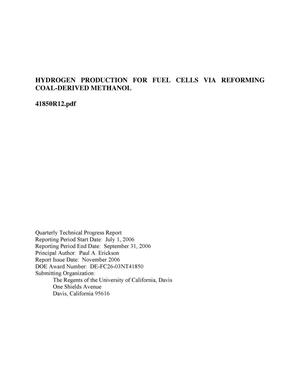 Primary view of object titled 'Hydrogen Production for Fuel Cells Via Reforming Coal-Derived Methanol'.