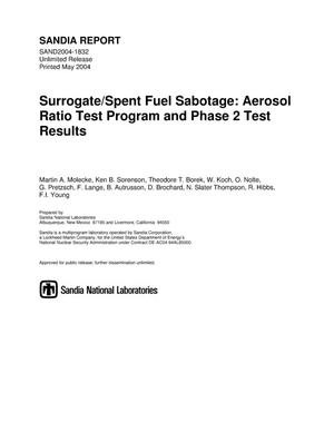 Primary view of object titled 'Surrogate/spent fuel sabotage : aerosol ratio test program and Phase 2 test results.'.