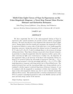 Primary view of object titled 'Multi-color light curves of type Ia supernovae on thecolor-magnitude diagram: A novel step toward more precise distance andextinction estimates'.