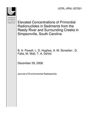 Primary view of object titled 'Elevated Concentrations of Primordial Radionuclides in Sediments from the Reedy River and Surrounding Creeks in Simpsonville, South Carolina'.