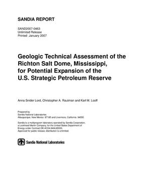 Primary view of object titled 'Geologic technical assessment of the Richton salt dome, Mississippi, for potential expansion of the U.S. strategic petroleum reserve.'.