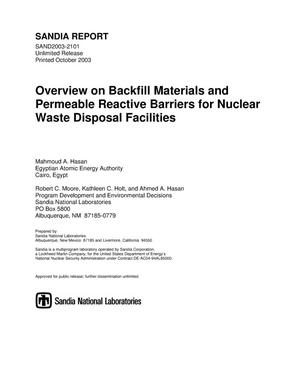 Primary view of object titled 'Overview on backfill materials and permeable reactive barriers for nuclear waste disposal facilities.'.
