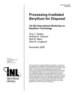 Primary view of object titled 'Processing Irradiated Beryllium For Disposal'.