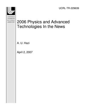 Primary view of object titled '2006 Physics and Advanced Technologies In the News'.