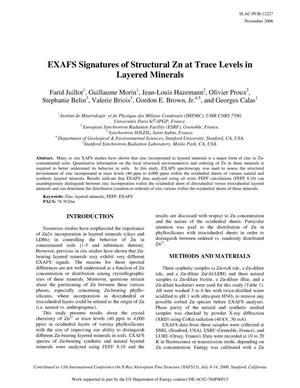 Primary view of object titled 'EXAFS Signatures of Structural Zn at Trace Levels in Layered Minerals'.