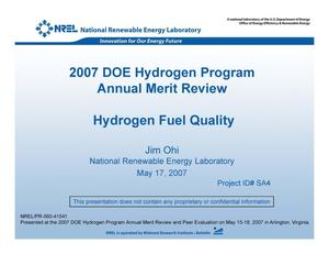 Primary view of object titled 'Hydrogen Fuel Quality (Presentation)'.