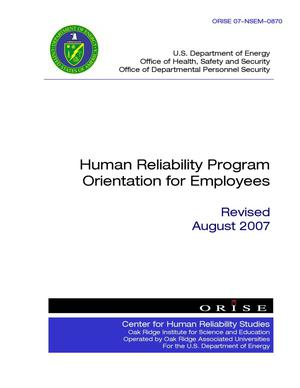 Primary view of object titled 'Human Reliability Program Orientation for Employees'.