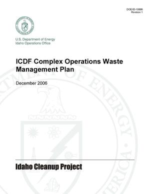 Primary view of object titled 'ICDF Complex Operations Waste Management Plan'.