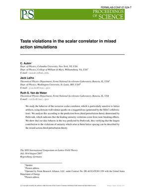 Primary view of object titled 'Taste violations in the scalar correlator in mixed action simulations'.