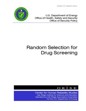 Primary view of object titled 'Random Selection for Drug Screening'.