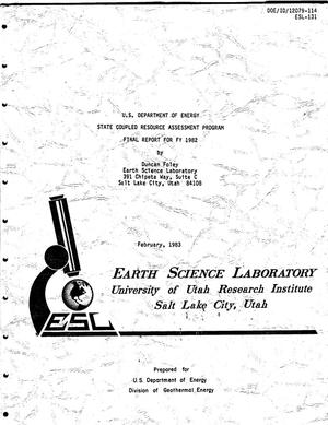 Primary view of object titled 'U.S. Department of Energy State Coupled Resource Assessment Program Final Report for FY 1982'.