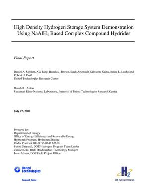 Primary view of object titled 'High Density Hydrogen Storage System Demonstration Using NaAlH4 Based Complex Compound Hydrides'.
