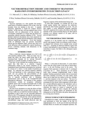 Primary view of object titled 'Vector diffraction theory and coherent transition radiation interferometry in electron linacs'.