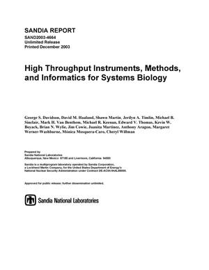 Primary view of object titled 'High throughput instruments, methods, and informatics for systems biology.'.