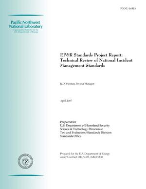 Primary view of object titled 'EP&R Standards Project Report: Technical Review of National Incident Management Standards'.