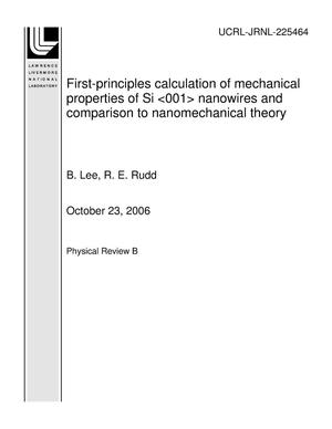 Primary view of object titled 'First-principles calculation of mechanical properties of Si <001> nanowires and comparison to nanomechanical theory'.
