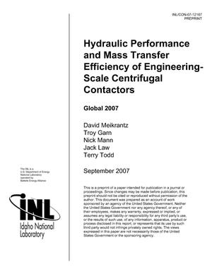 Primary view of object titled 'Hydraulic Performance and Mass Transfer Efficiency of Engineering Scale Centrifugal Contactors'.