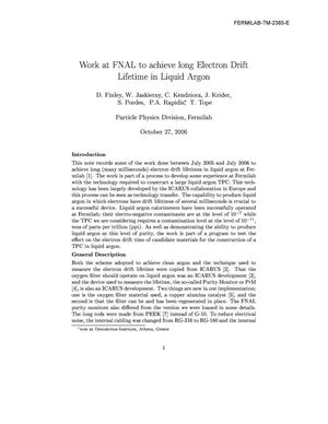 Primary view of object titled 'Work at FNAL to achieve long electron drift lifetime in liquid argon'.