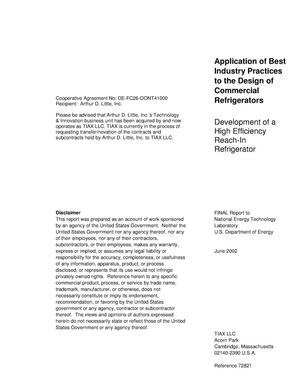 Primary view of object titled 'Application of Best Industry Practices to the Design of Commercial Refrigerators'.