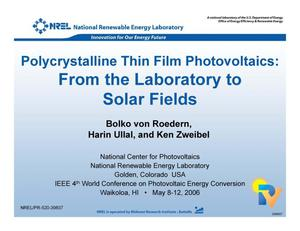 Primary view of object titled 'Polycrystalline Thin Film Photovoltaics: From the Laboratory to Solar Fields (Presentation)'.