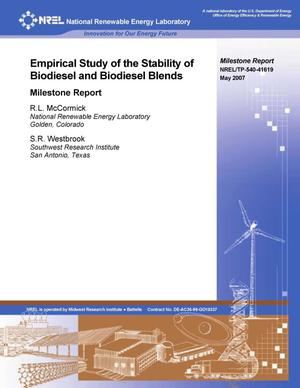 Primary view of object titled 'Empirical Study of the Stability of Biodiesel and Biodiesel Blends: Milestone Report'.