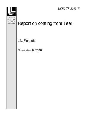 Primary view of object titled 'Report on coating from Teer'.