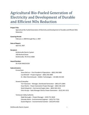 Primary view of object titled 'Agricultural Bio-Fueled Generation of Electricity and Development of Durable and Efficent NOx Reduction'.