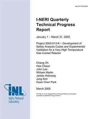 Primary view of object titled 'I-NERI QUARTERLY TECHNICAL PROGRESS REPORT - JANUARY 1 - MARCH 31, 2005'.