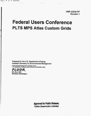 Primary view of object titled 'FEDERAL USERS CONFERENCE PRODUCT LINE TOOL SET (PLTS) MAP PRODUCTION SYSTEM (MPS) ATLAS CUSTOM GRIDS [Rev 0 was draft]'.