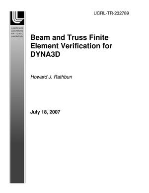 Primary view of object titled 'Beam and Truss Finite Element Verification for DYNA3D'.