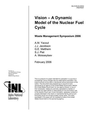 Primary view of object titled 'VISION -- A Dynamic Model of the Nuclear Fuel Cycle'.