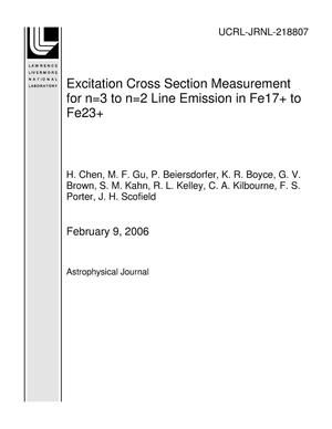 Primary view of object titled 'Excitation Cross Section Measurement for n=3 to n=2 Line Emission in Fe17+ to Fe23+'.