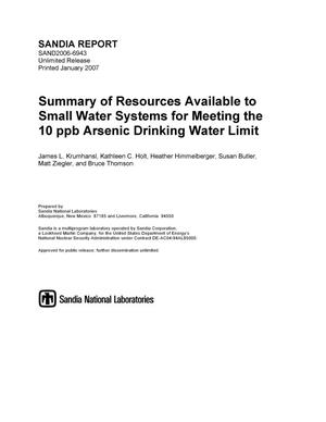 Primary view of object titled 'Summary of resources available to small water systems for meeting the 10 ppb arsenic drinking water limit.'.