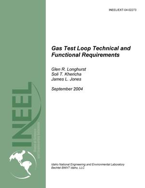 Primary view of object titled 'Gas Test Loop Functional and Technical Requirements'.