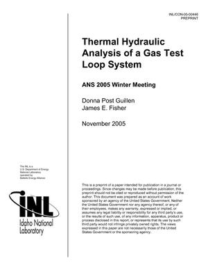Primary view of object titled 'THERMAL HYDRAULIC ANALYSIS OF A GAS TEST LOOP SYSTEM'.