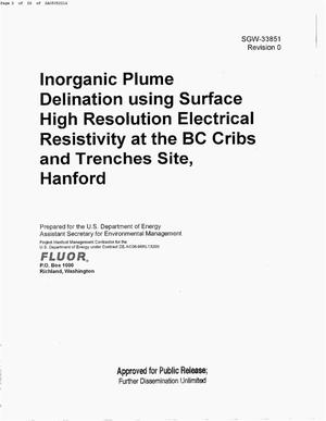 Primary view of object titled 'INORGANIC PLUME DELINEATION USING SURFACE HIGH RESOLUTION ELECTRICAL RESISTIVITY AT THE BC CRIBS & TRENCHES SITE HANFORD'.