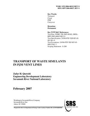 Primary view of object titled 'TRANSPORT OF WASTE SIMULANTS IN PJM VENT LINES'.