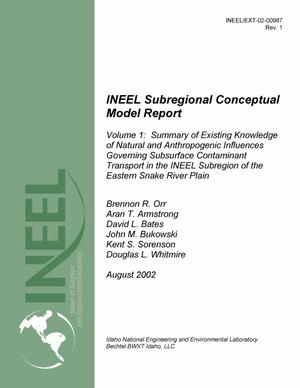 Primary view of object titled 'INEEL Subregional Conceptual Model Report; Volume 1 - Summary of Existing Knowledge of Natural and Anthropogenic Influences Governing Subsurface Contaminant Transport in the INEEL Subregion of the Eastern Snake River Plain'.
