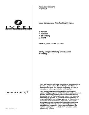 Primary view of object titled 'Issue Management Risk Ranking Systems'.