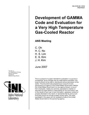 Primary view of object titled 'Development of GAMMA Code and Evaluation for a Very High Temperature gas-Cooled Reactor'.