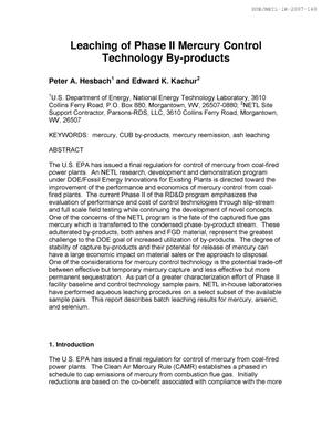 Primary view of object titled 'Leaching of Phase II Mercury Control Technology By-Products'.