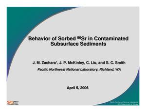 Primary view of object titled 'Behavior of sorbed {sup 90}Sr in contaminated subsurface sediments'.