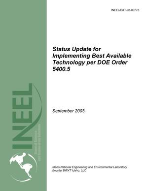 Primary view of object titled 'Status Update for Implementing Best Available Technology per DOE Order 5400.5'.