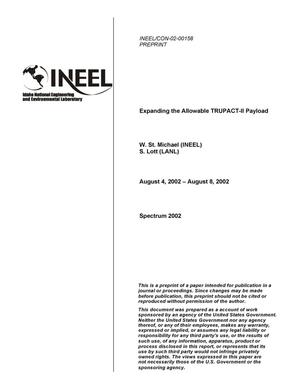Primary view of object titled 'Expanding the Allowable TRUPACT-II Payload'.